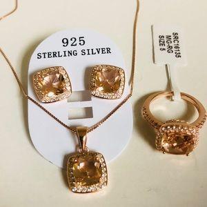 Jewelry - Sterling silver 925 morganite cz sets